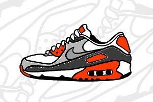 Retro AF-1 Sneaker Illustration