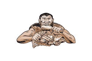 Neanderthal Man Eating Paleo Diet Et
