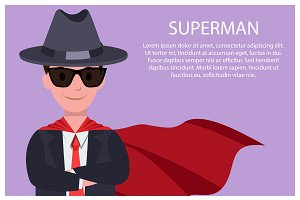Superman Poster Man and Text Vector