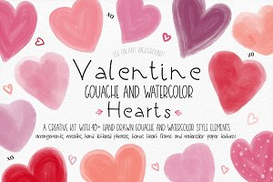 Gouache and Watercolor Hearts Kit