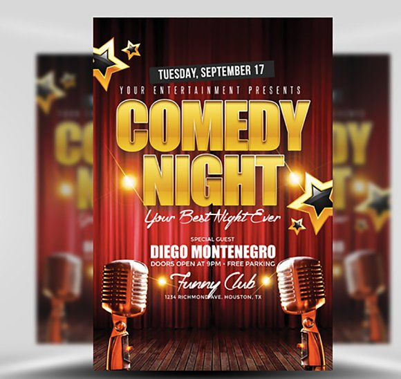 Comedy Night Flyer Template Flyers