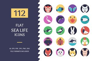 112 Flat Sea Life and Animals Icons