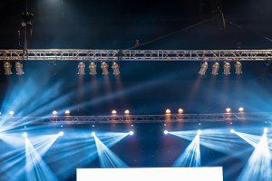 Luminous rays from concert lighting