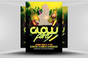 Glow / Neon Party Flyer Template