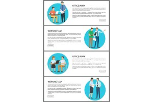 Office Work Task Bright Cards Vector