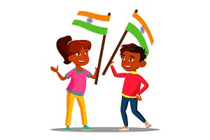 Happy Indian Kids Waving Flags Of