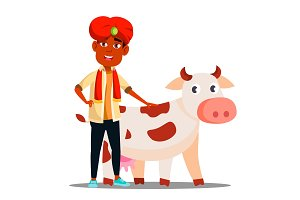Indian Child Boy In Turban With Cow