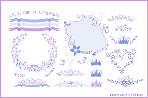 Blue & Orchid Floral Wreaths Vector