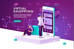 Virtual Shopping Concept Vector