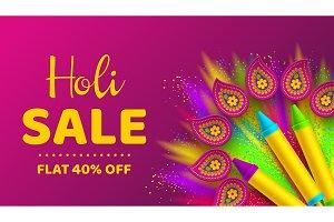 Holi sale promotional background.