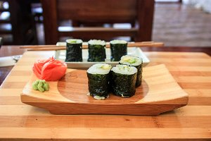 Japanese restaurant, sushi rolls.