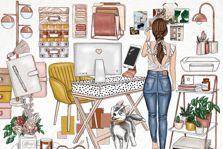 Office Planner Fashion Girl Clip Art
