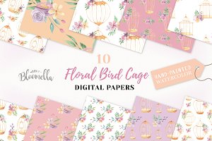 Birdcage Floral Seamless Patterns