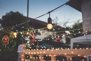 Light bulb decor in the garden.