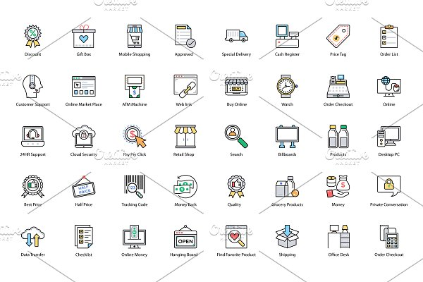 136 Shopping and Commerce Icons