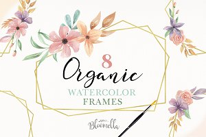 Watercolour Gold Frames Clipart Kit