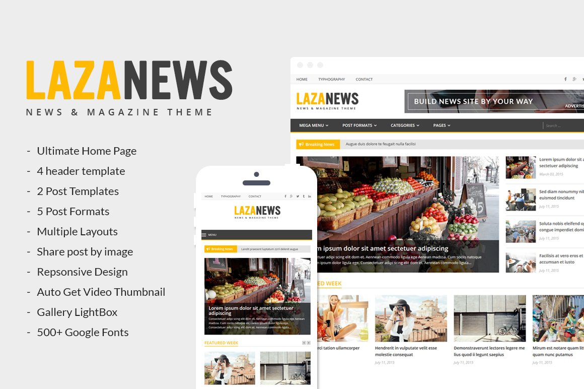 Lazanews News Magazine Newspaper Wordpress Magazine Themes