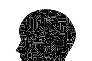 Human shape with circuit board patte