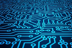 Blue circuit board pattern texture.