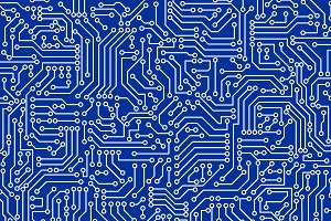Blue circuit board seamless pattern