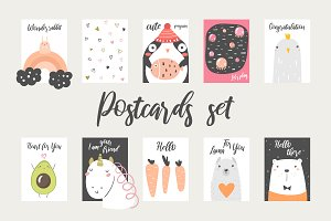 Postcards with animals