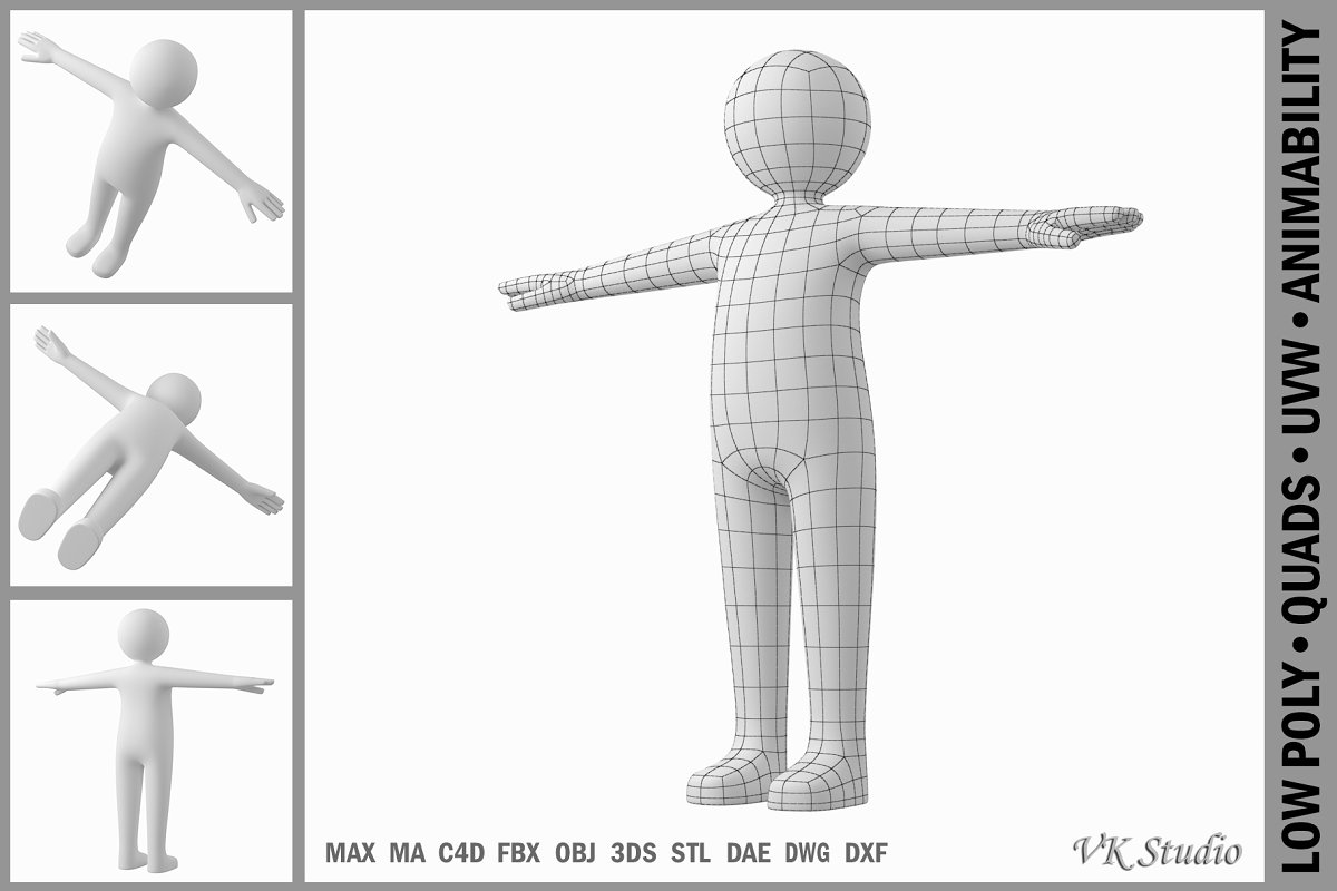 Adult Male Stickman in T-Pose