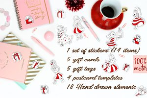 Sticker, holiday Gift Tags and Cards