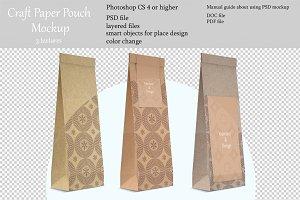 Craft pouch mockup. PSD mockup.