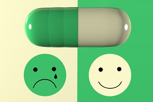 3d illustration of depression pill a