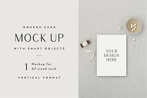 A7 Card Mockup with Smart Objects