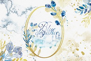 Watercolor Blue Elegance Clipart Set