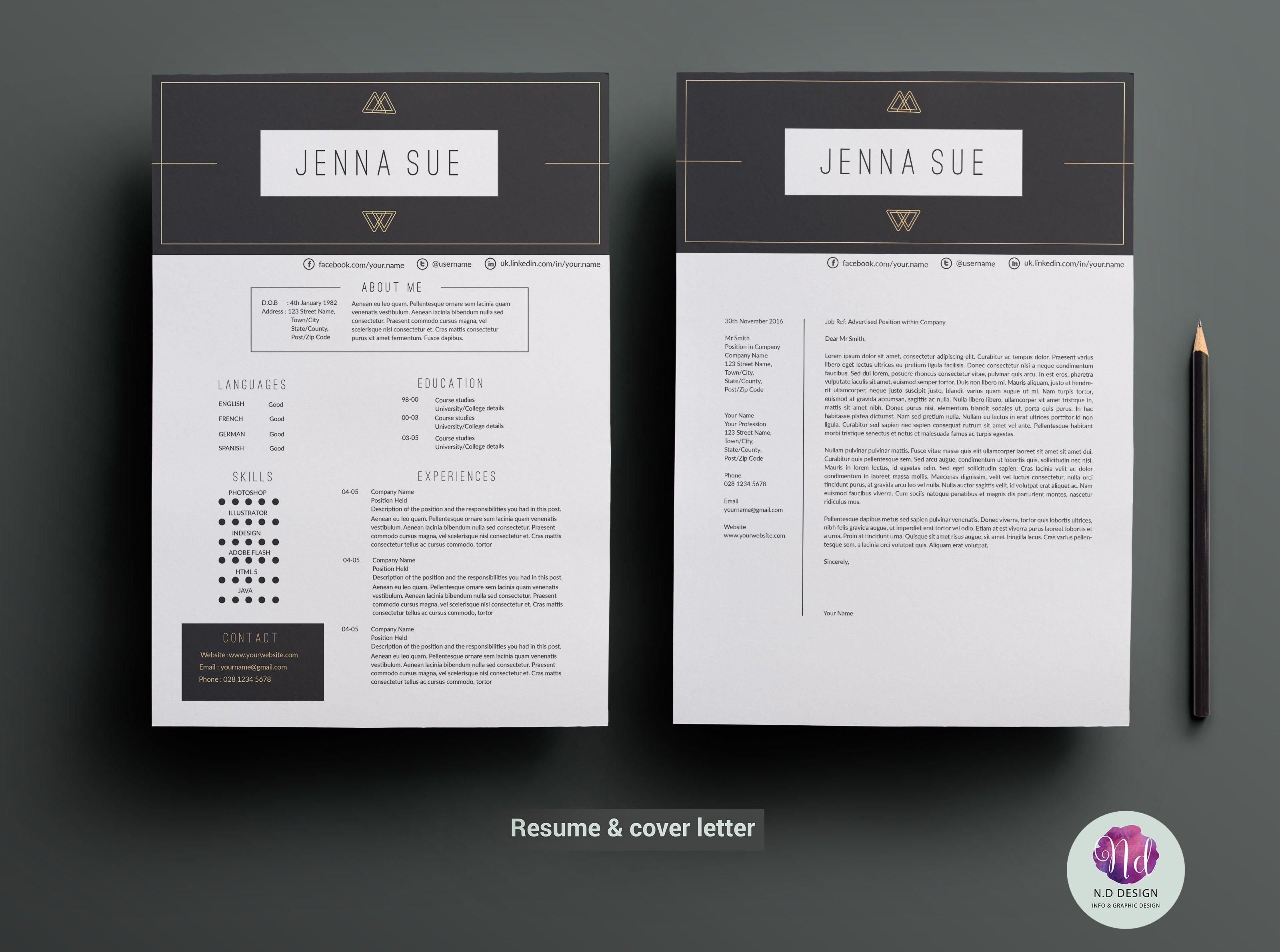Cv Template Cover Letter Template Resume Templates Creative Market