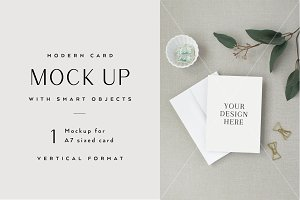 A7 Card Mockup with Smart Object