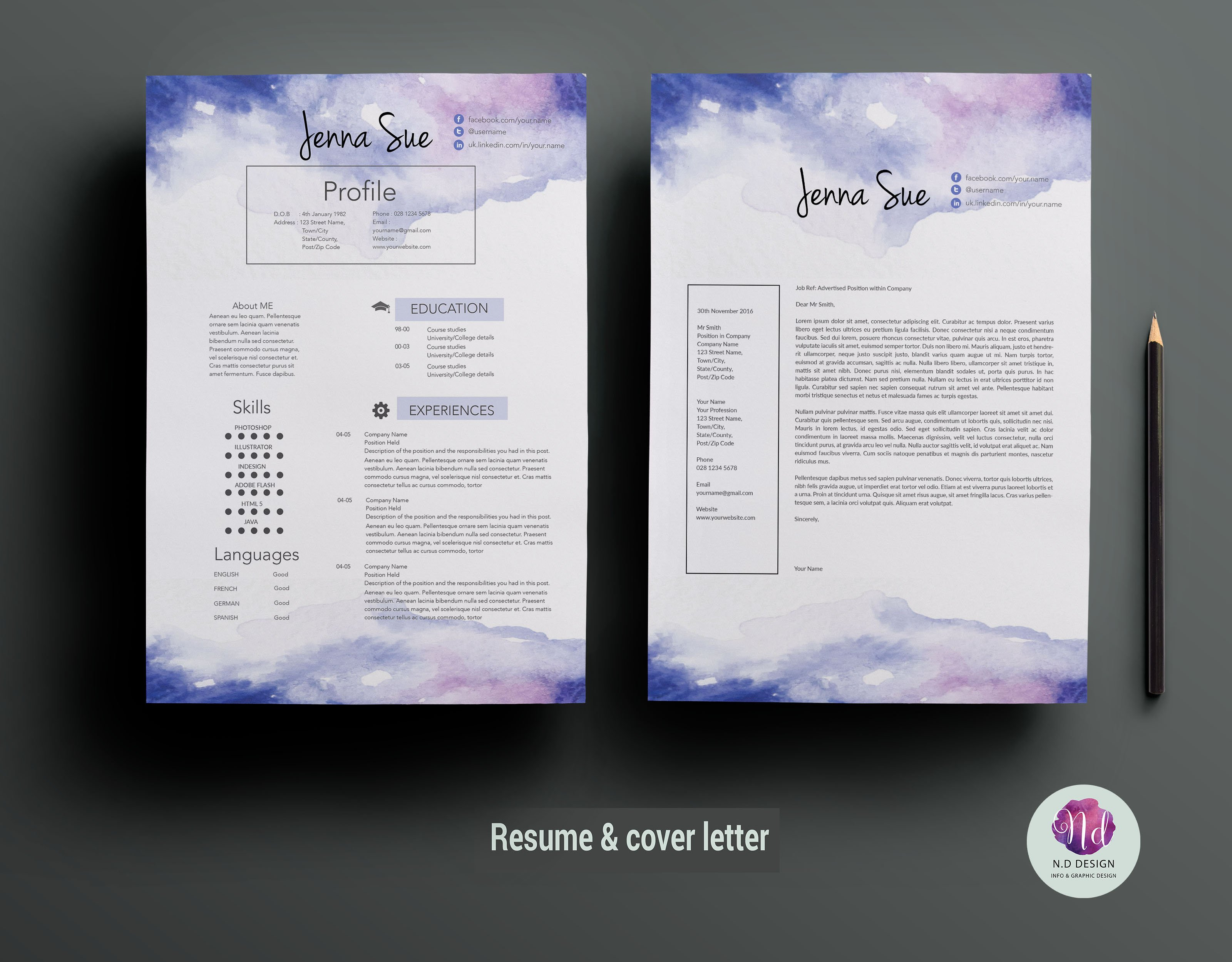 Creative CV template ~ Resume Templates ~ Creative Market