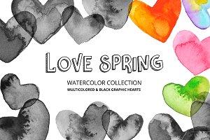 Love Spring Watercolor Hearts