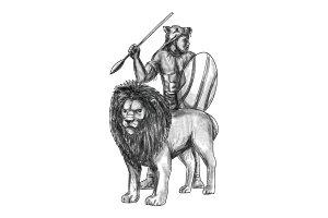 African Warrior Spear Lion Tattoo
