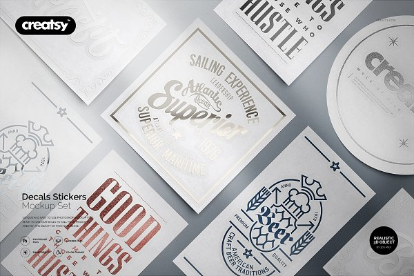 Product Mockups - Decals Stickers Mockup Set