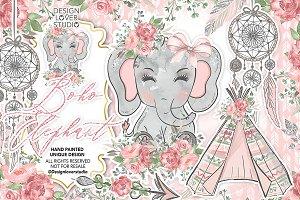 Boho Elephant Cute design