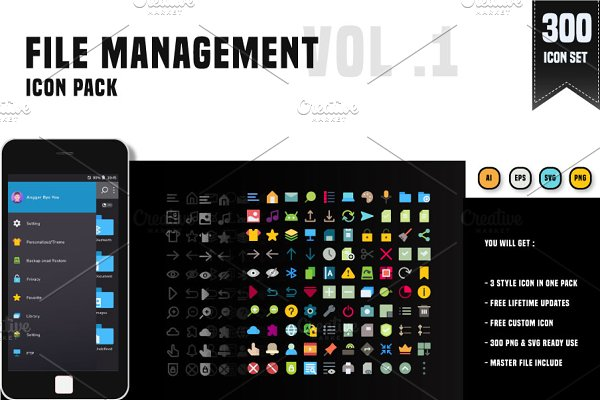 300 File Management Icon Pack