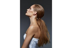 beautiful girl with long ponytail