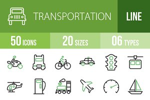 50 Transport Line Green& Black Icons