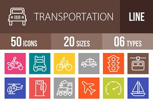 50 Transport Line Multicolor Icons
