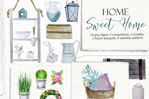 Sweet home. Watercolor set