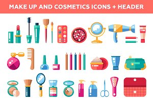 Makeup and Cosmetics Icons + Header