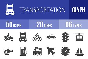 50 Transport Glyph Icons