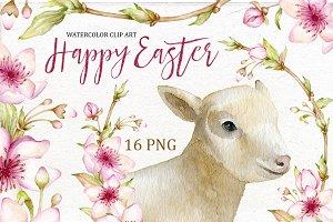 Easter watercolor clip art.