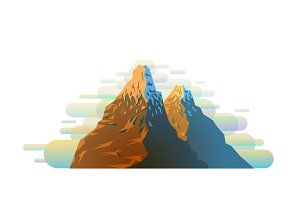 Colorful snowy mountain silhouette