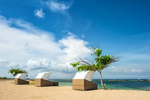 Beach chairs beautiful tropical sand
