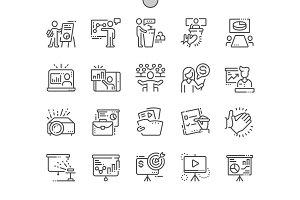 Business Presentation Line Icons
