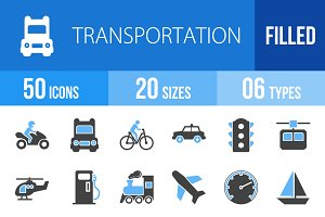 50 Transport Blue & Black Icons
